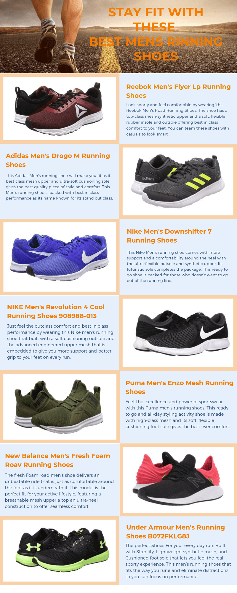 Infographic Best Branded Running Shoes For Men in India to Buy Online - Sep 2019